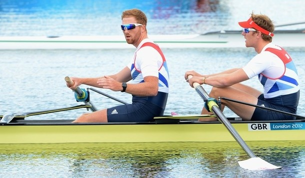 WINDSOR, ENGLAND - JULY 28:  George Nash and William Satch of Great Britain compete in the Men's Pair Heats on Day 1 of the London 2012 Olympic Games at Eton Dorney on July 28, 2012 in Windsor, England.