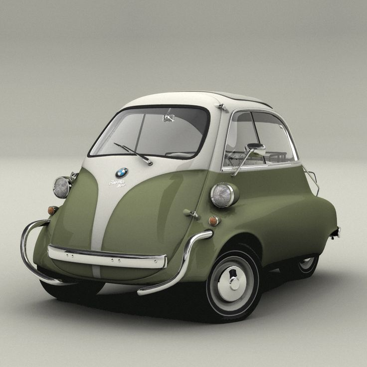 "Manufactured in 1962, the Isetta was one of the first cheap people's cars. Built in Brighton, with only a 300cc engine, the ""Bubble Car"" has its only door at the front and opens with the steering wheel attached"