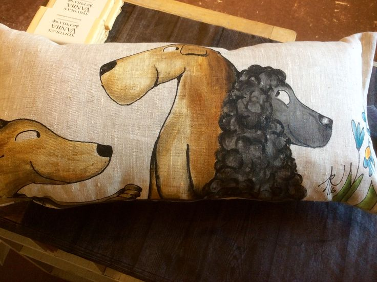 Unique pillow, custom order, her own dogs. Handmade in Jyväskylä Finland