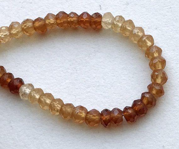 Hessonite Garnet Faceted Rondelle Beads Grossular by gemsforjewels
