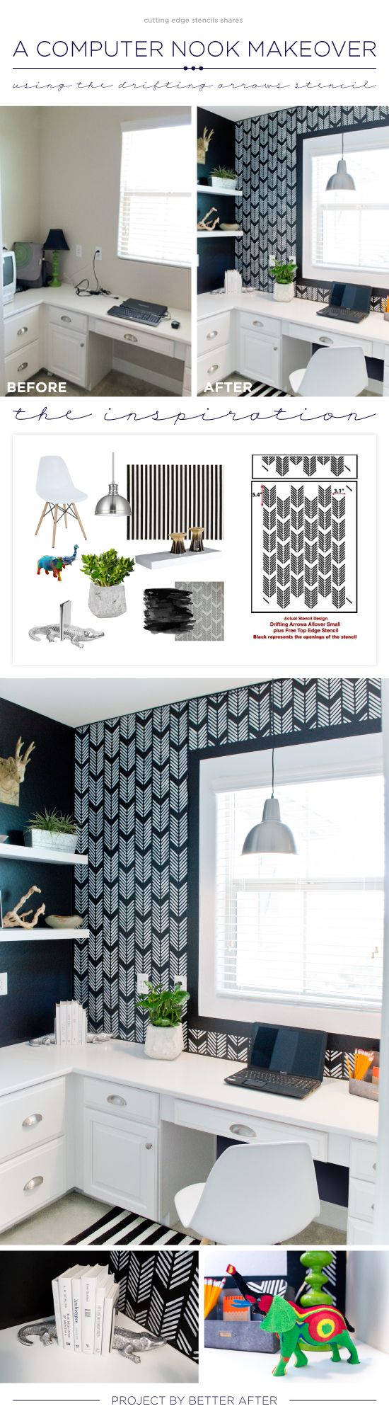 Best 25 diy stenciled walls ideas on pinterest stencil wall art cutting edge stencils shares a diy stenciled accent wall in a computer nook using the drifting amipublicfo Choice Image