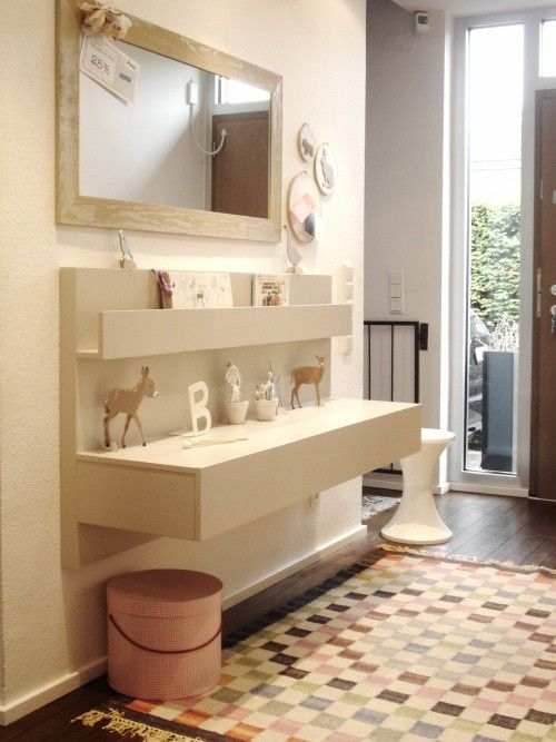 ikea hack; malm night tables mounted on wall to make a foyer primping station/landing pad