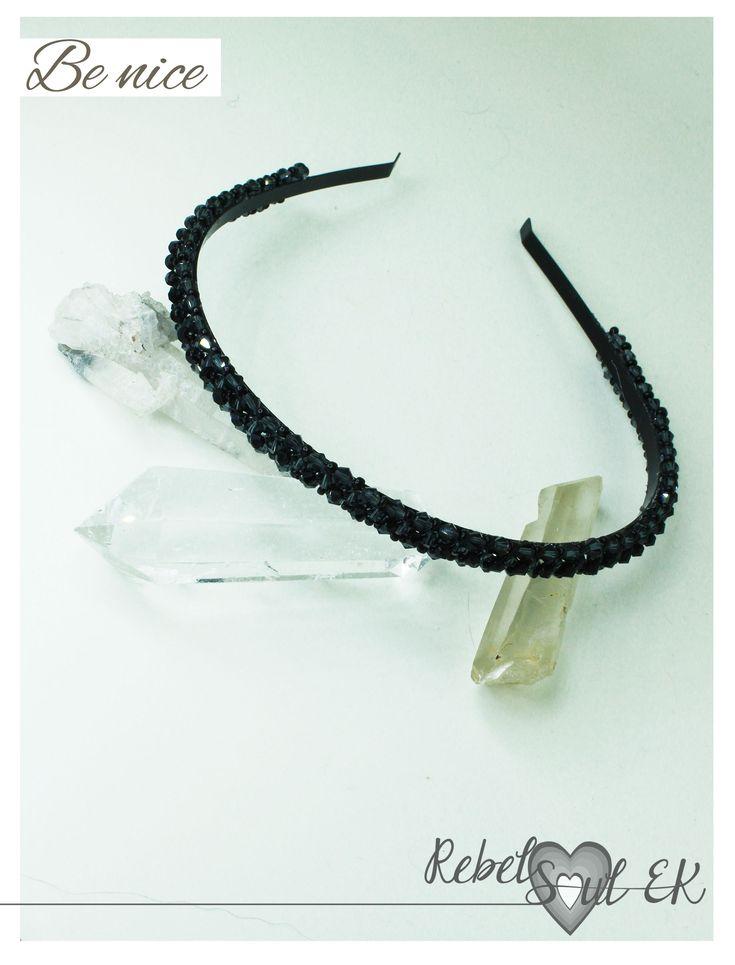 Black Headband, crystal headpiece, Beaded crown, classic headband, beaded head piece, Crystal Headband, prom headband, beadweaved piece