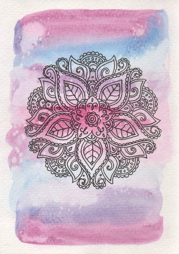 Pink and Blue Mandala, Watercolor Mandala Print, Flower Mandala, Watercolor…