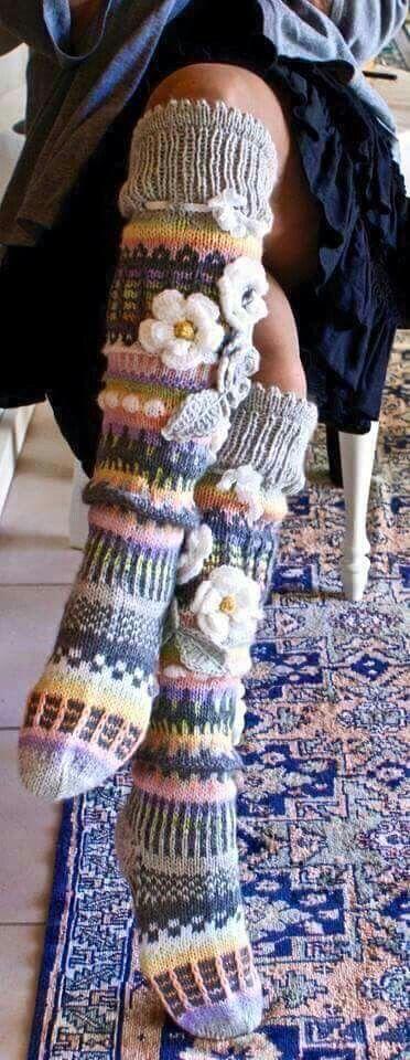Socks with flowers