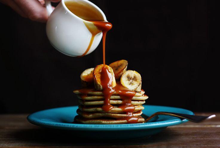 Coconut Pancakes w/Grilled Bananas & Salted Caramel Rum Sauce: Caramel Rum, Recipe, Sauces, Food, Breakfast, Grilled Bananas, Salted Caramels, Coconut Pancakes
