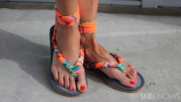 DIY Sandals and Flip Flops - DIY Sandals Made With Scarf - Creative, Cool and Easy Ways to Make or Update Your Shoes - Decorate Flip Flops with Cheap Dollar Store Crafts and Ideas - Beaded, Leather, Strappy and Painted Sandal Projects - Fun DIY Projects and Crafts for Teens and Teenagers http://diyprojectsforteens.com/diy-sandals