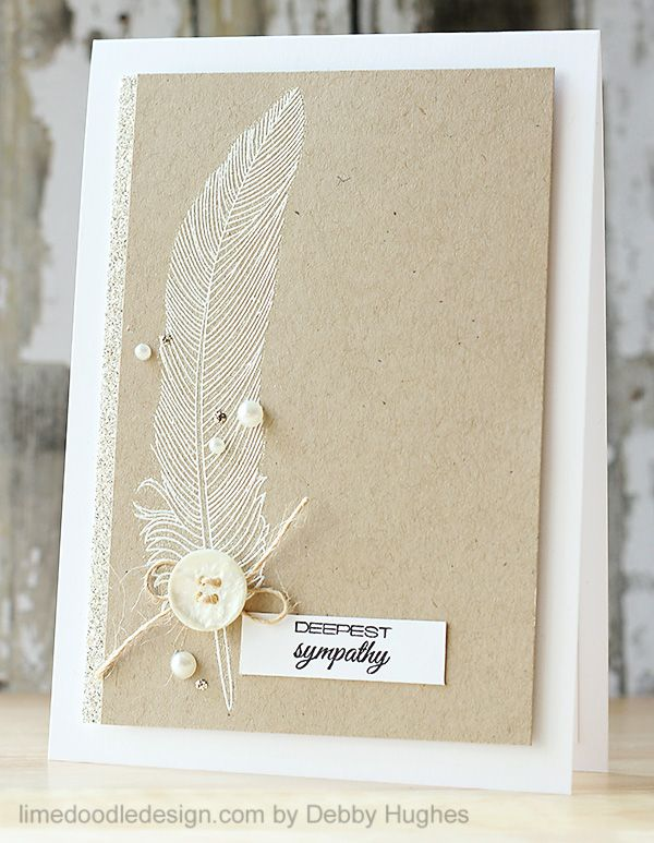 handmade sympathy card from lime doodle design ... soft sandy kraft ... fine-lined feather embossed in white ... sprinkling of pearls ... great card ...