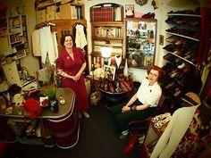 Constanze Pelzer and friend dressed to 40s perfection at Glencheck vintage, Berlin: http://taramoss.com/vintage-berlin/ - Tara Moss