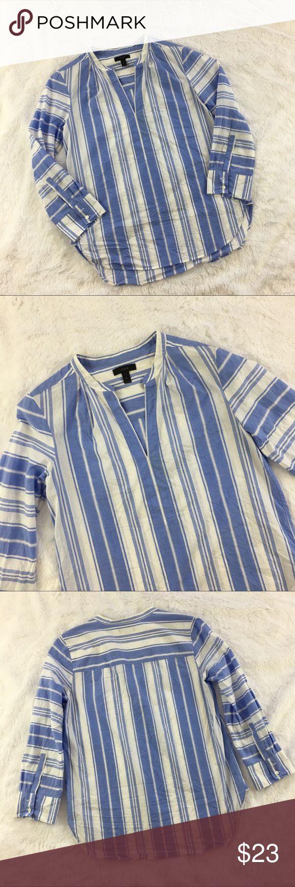 J Crew Striped 3/4 Sleeve V-Neck Shirt J Crew striped v-neck striped shirt. Size small. Gently used, without flaws. J Crew Tops Tunics
