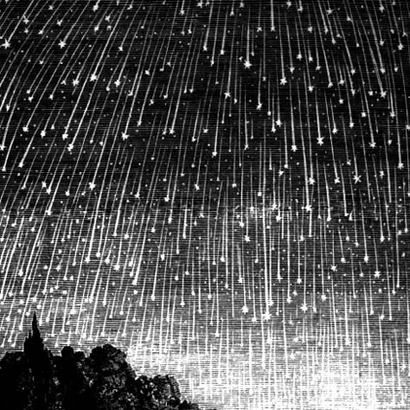 Real(Mislabeled) - This is not a picture of the 1833 Perseid Meteor Shower. - This is a famous depiction(cropped from the original) of the 1833 Leonid Meteor Storm, produced in 1889 for the Seventh-day Adventist book Bible Readings for the Home Circle