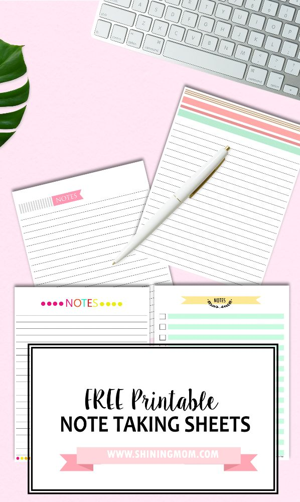 Free Note Taking Sheets available at www.shiningmom.com!