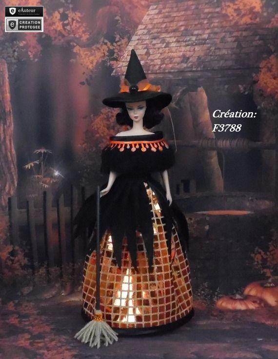 """Robe Barbie """" Halloween N°9 """" Vêtement sorcière d'Halloween pour poupée Barbie Silkstone Fashion Royalty Muse f3788"""