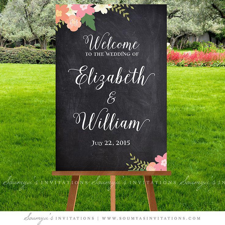 Chalkboard Wedding Signs, Wedding Welcome Sign, Printable Wedding Signs, Calligraphy Wedding Signs, Rustic Wedding Decorations, Floral Wedding Ceremony Signage, Wedding Reception Signs