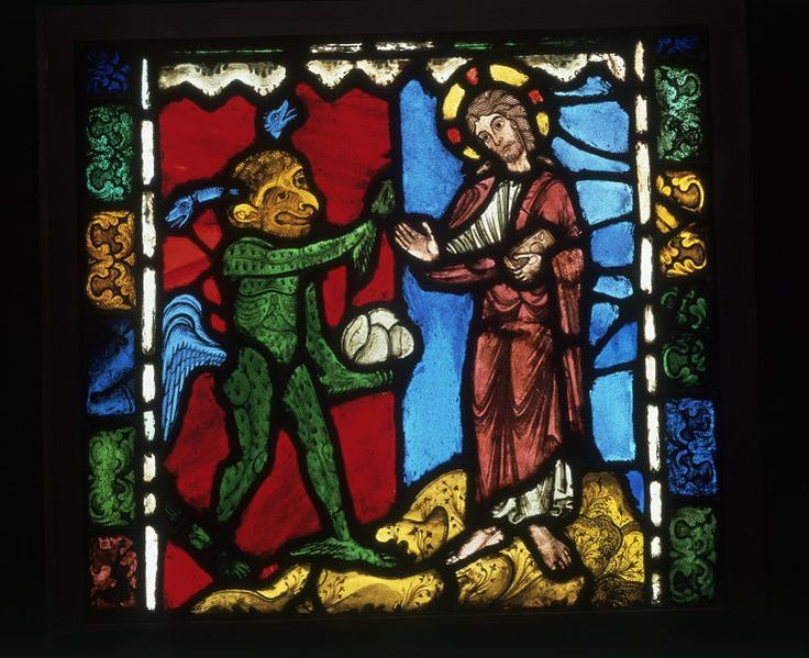 Temptation in the Wilderness; First Temptation of Christ  Object: Panel  Place of origin: Champagne-Ardenne, France (made)  Date: ca. 1170-1180 (made)  Artist/Maker: Unknown (production)  Materials and Techniques: Stained glass