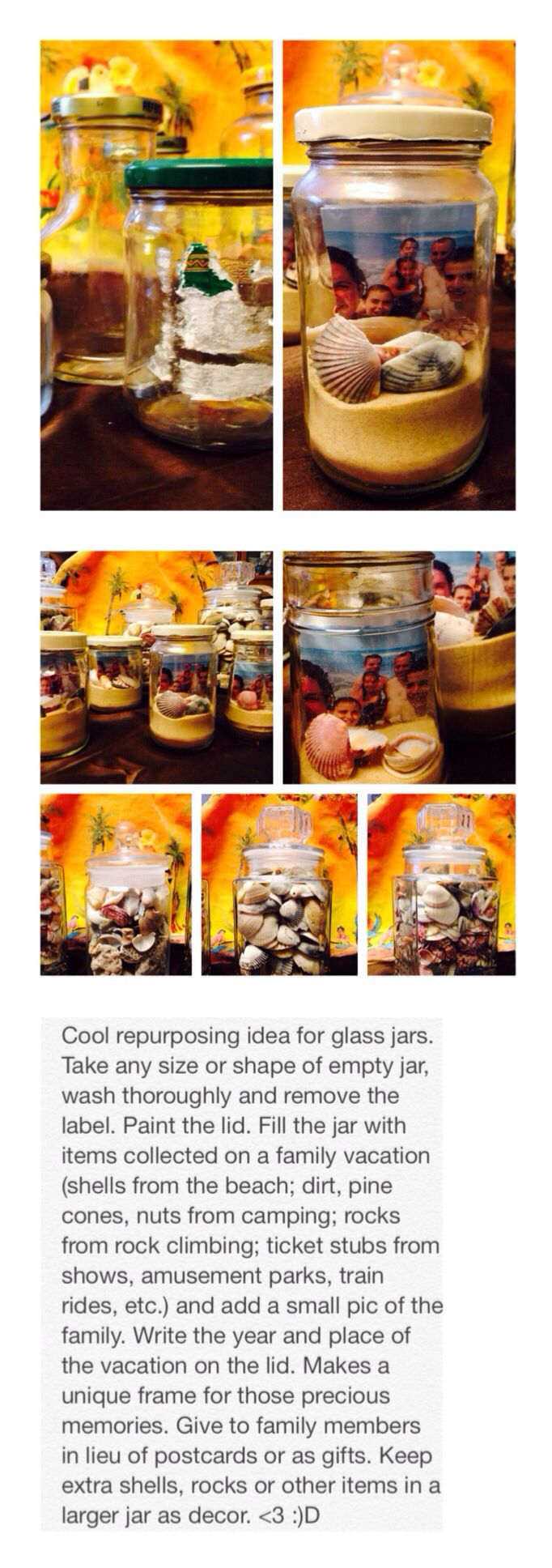 Repurposing glass jars. Great decor or gift idea. <3 :)D