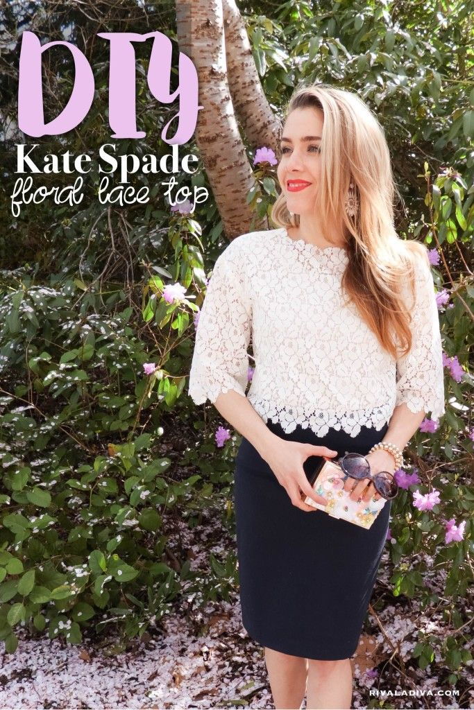 DIY Kate Spade inspired Floral Lace Top by Riva la Diva. Made with Simplicity pattern 1366!