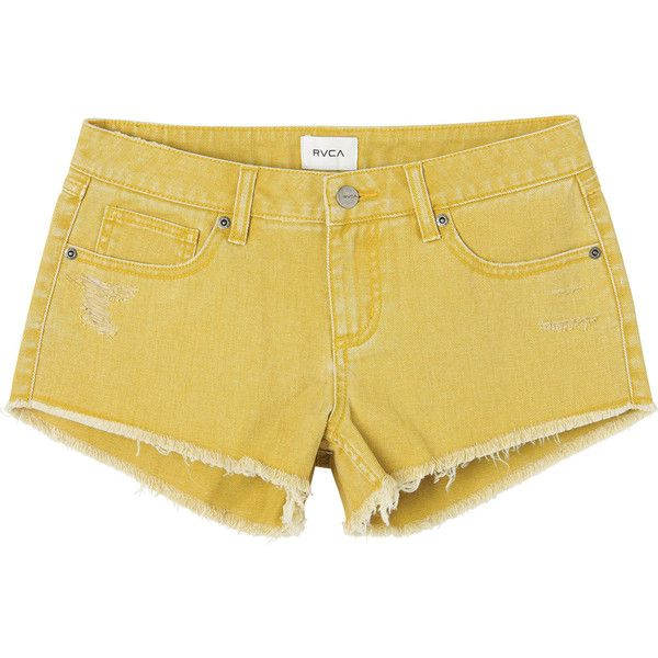 Hello Mellow Denim Cutoff Shorts RVCA (£43) ❤ liked on Polyvore featuring shorts, ripped shorts, low rise jean shorts, jean shorts, destroyed jean shorts and destroyed denim shorts