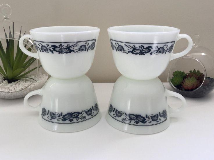 Vintage Pyrex 'Blue Onion' Cups x4 - $15