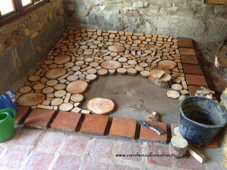 Пол из деревянных спилов
