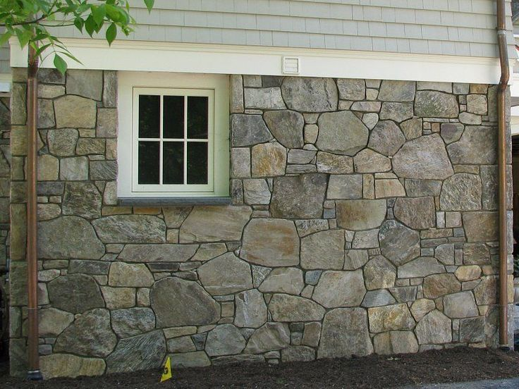 foundation covering with natural new england thin stone veneer - Faux Stone Veneer