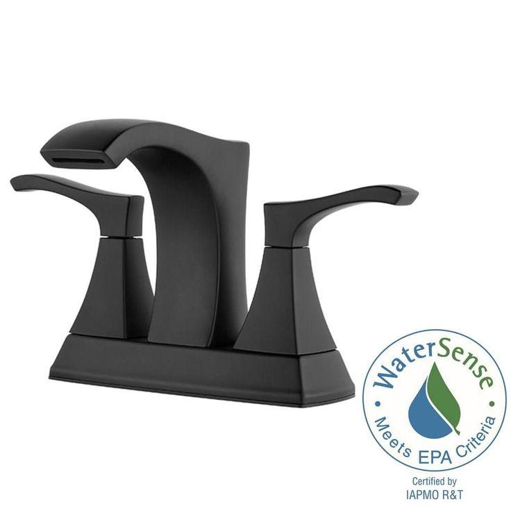 Pfister Venturi 4 in. Centerset 2-Handle Bathroom Faucet in Matte Black-LF-048-VNBB - The Home Depot