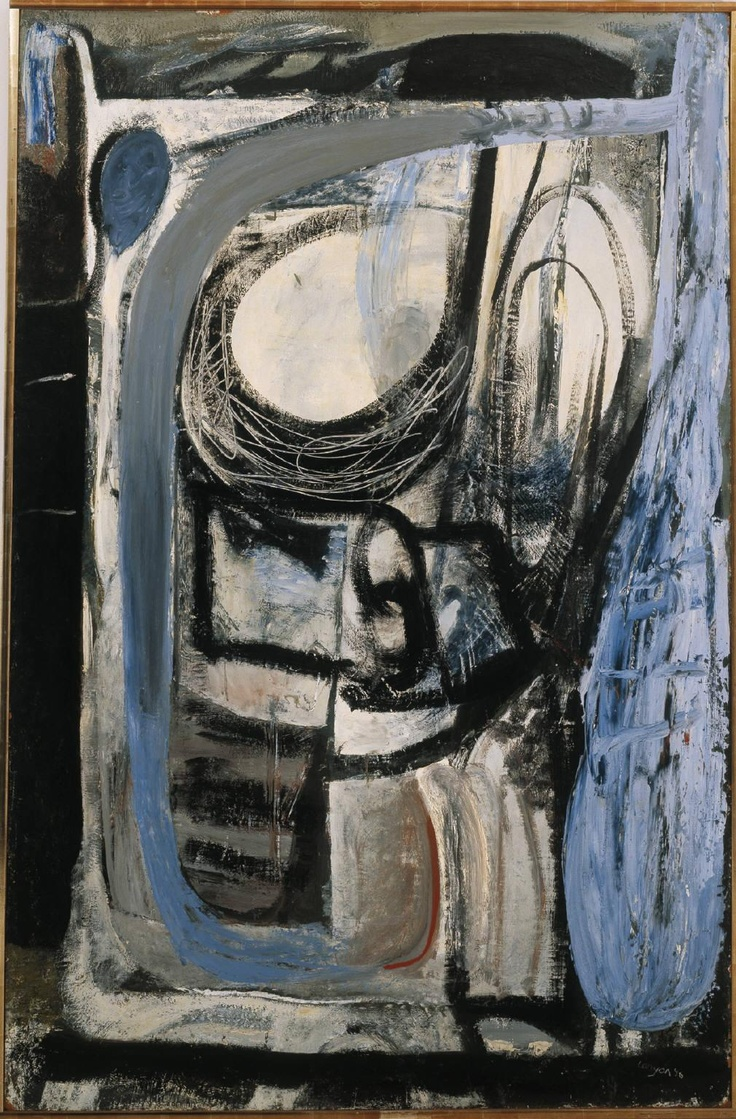 """Lulworth (1956) by Peter Lanyon. """"I have been reduced to more misery and distress by such paintings than any human being can make for me."""" The painting shows two lovers, their heads the two mainly white spaces enclosed by black, the thicker black lines in the centre outlining their embrace. The woman is Lanyon's mistress, Susan."""
