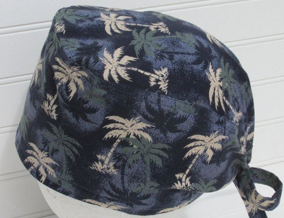 Palm trees surgical scrub hat, chemo hat, scrub hat, cancer hat with a built in…