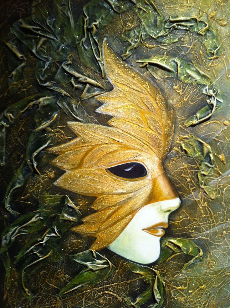 Masque de venise grande feuille d 39 or - Peinture qui masque les imperfections ...