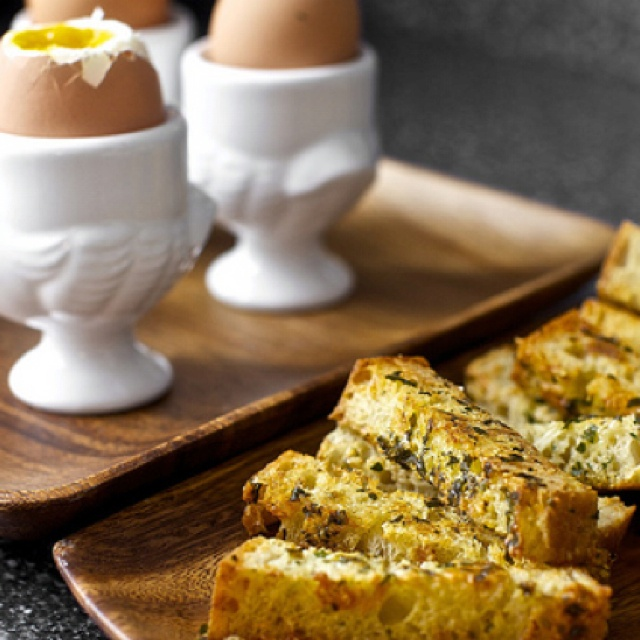 Soft eggs with buttery herb-gruyere toast | Food Obsession | Pinterest ...