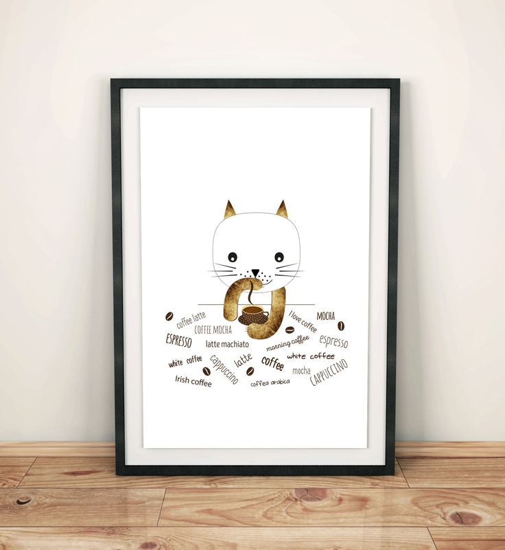 Poster prints coffee time, kitchen, wall art decor, animal prints, cat with coffee, lovers cat, simple design, graf poster by GrafPoster on Etsy