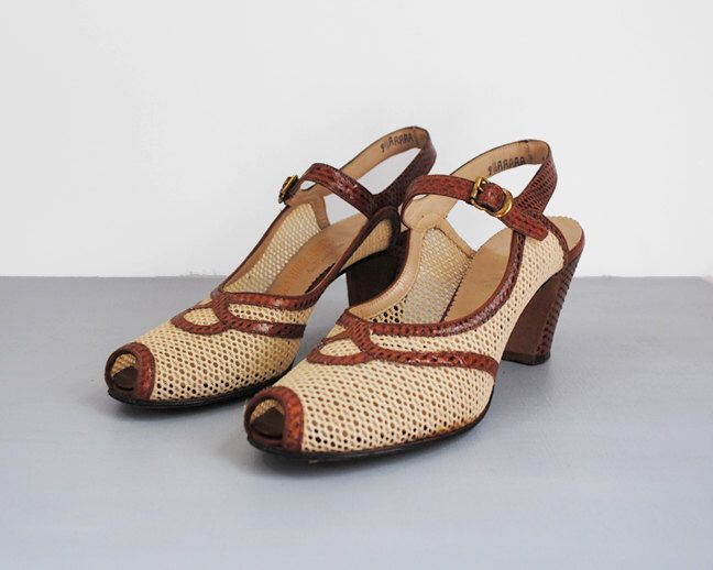40's snakeskin heels. 40 ivory sandals. peep toe. strap. mesh. 1940's brown shoes. 9.5 narrow. by stickylipgloss on Etsy https://www.etsy.com/listing/226367374/40s-snakeskin-heels-40-ivory-sandals