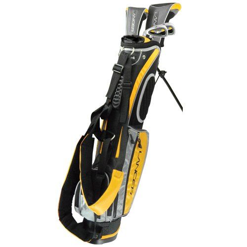 Intech Lancer Junior Golf Set, (Right-Handed, Age 4 to 7, 17.5 degree Driver, 4/5 Hybrid Iron, Wide Sole 7 and 9 irons, Junior Putter, Yellow, Deluxe Stand Bag) and see more golf for kids at http://pinterest.com/sulias/golf-clubs-for-kids/