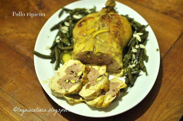 Il pollo con salsiccia e pistacchi con salsa all'arancia caramellata di Gaia