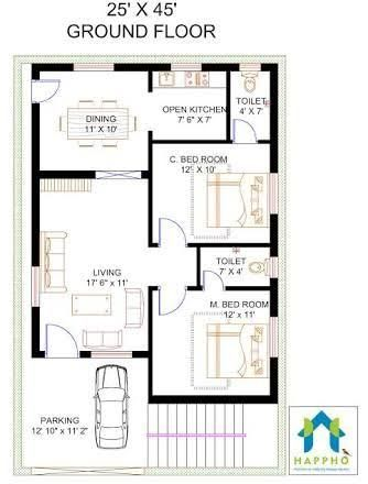 2 Bhk Floor Plans Of 25 45 Google Search