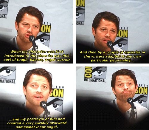 (gif set) Misha Collins about Castiel's Development - except, he stayed a bad-ass warrior. And I love that
