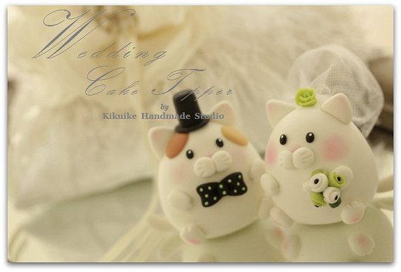 Custom kitty and cat  Wedding Cake Topper by kikuike on Etsy, $100.00