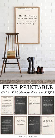 This is a set of HUGE free printable quotes from famous books and authors. Perfect as wall art in your home!
