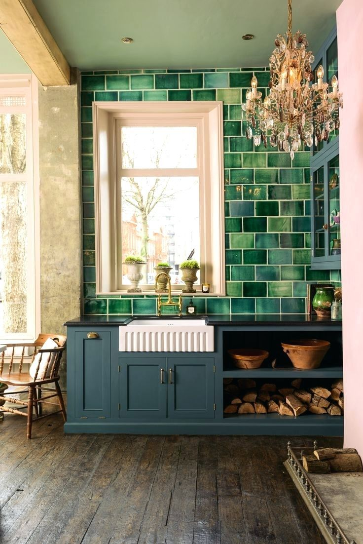 Kitchen Green Tile Mosaic And White Tiles For