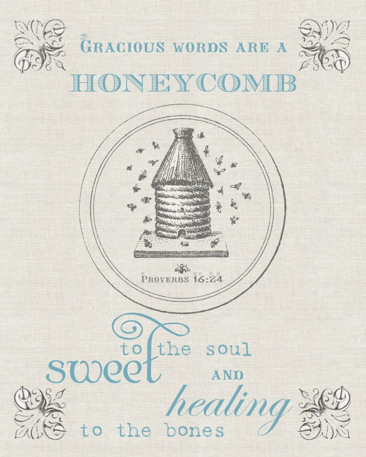 Gracious words are a honeycomb to the soul, sweet and healing. Proverbs 16:24