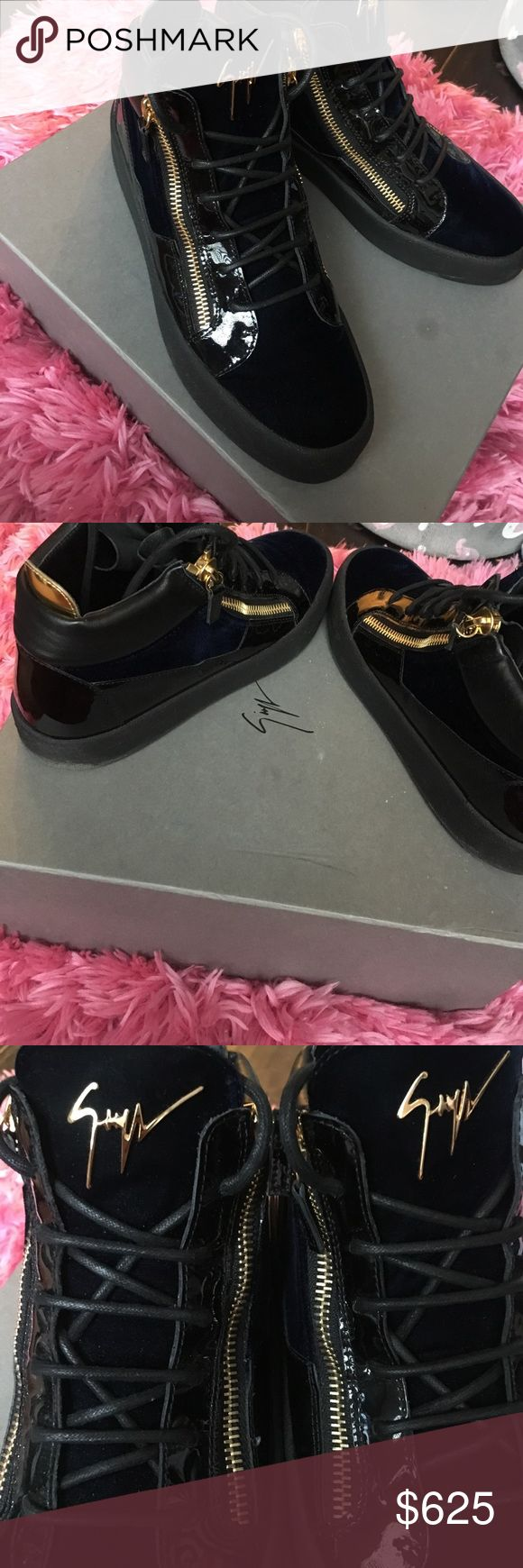 Limited Men's Giuseppe Sneaker Authentic! Men Giuseppe Sneaker (limited Edition) outstanding condition (like new)  feel free to make an offer ❤ comes with box 📦  Navy blue and Black Giuseppe Zanotti Shoes Sneakers