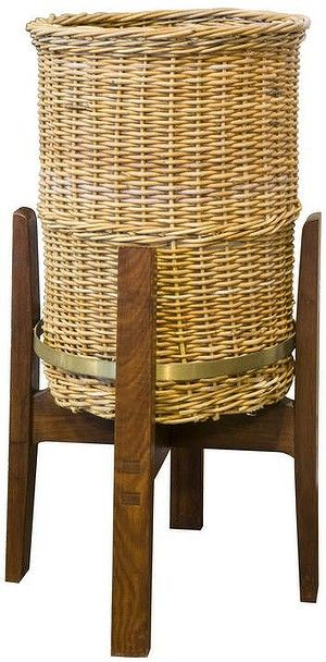 Fred Ward; Wood, Rattan and Brass Wastepaper Basket for the National Library of Australia , c1964.