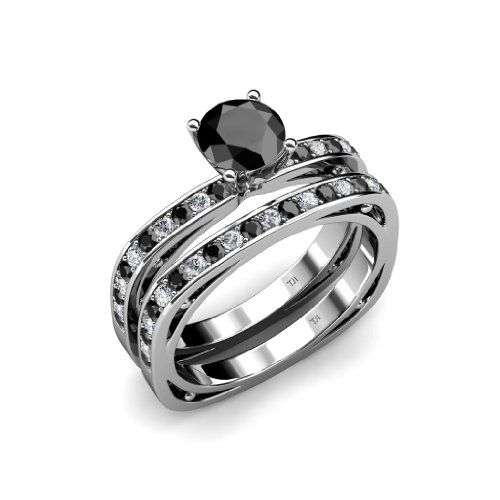 1.25cttw Natural White Round Diamond (VS2-SI1-Clarity,G-H... & Natural Treated Black Round Diamond Square...