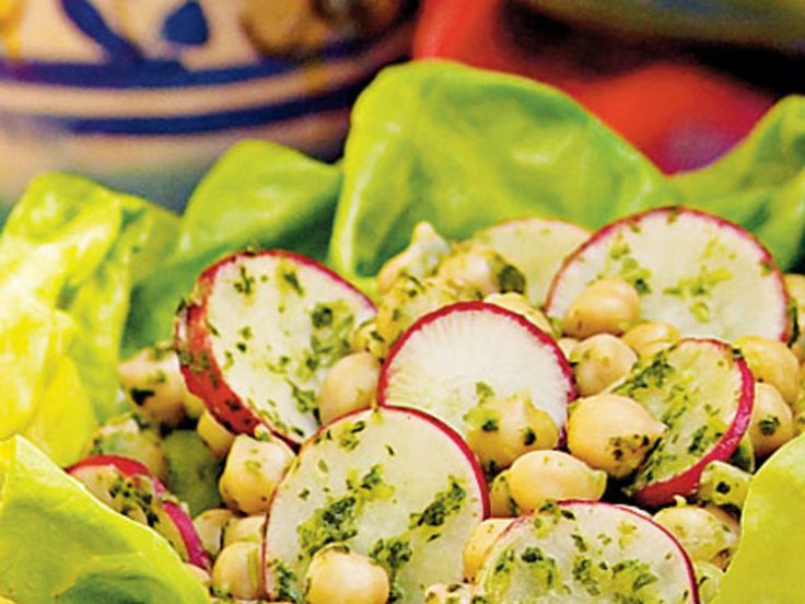 Chickpeas are a popular component of Southwestern cooking, as is the herb cilantro. To allow time for the flavors to develop, allow this salad stand for an hour before spooning it over the lettuce leaves. View Recipe: Chickpea Salad with Cilantro Dressing