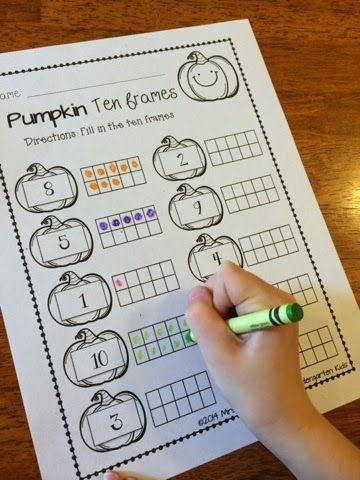 Pumpkin ten frames! 'Save your ink' printables!!