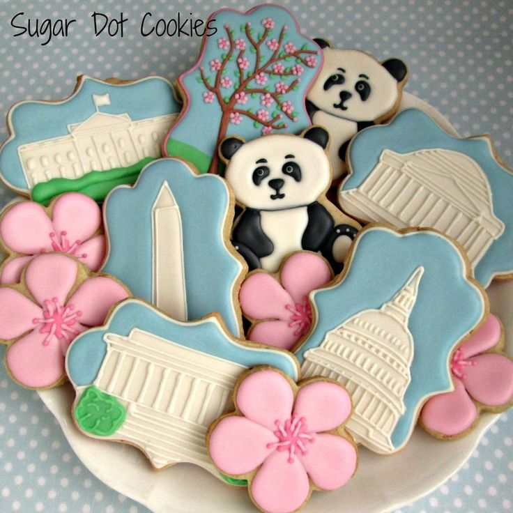 Washington DC cookies | Cookie Connection Collection includes cherry tree & blossoms; National Zoo pandas, White House, Capitol dome, Washington monument, and Jefferson & Lincoln memorials.