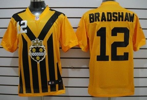 Men's Pittsburgh Steelers #12 Terry Bradshaw 1933 Yellow Throwback Jerseys