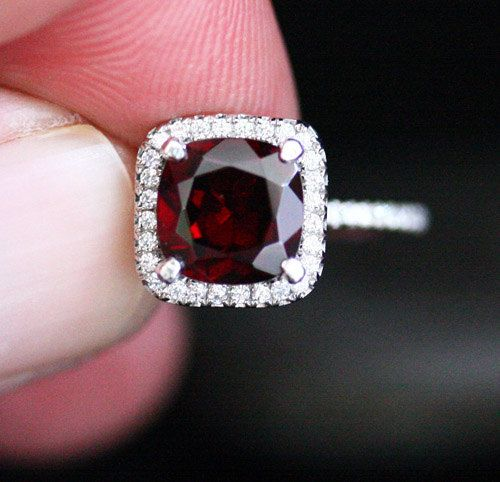 red garnet engagement ring garnet halo ring in 14k white gold with cushion 8mm and diamond halo also available in rose gold