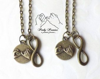 2 Her One His Only Pinky Promise Necklaces Hand by koolstuff2