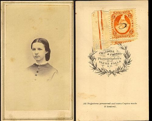 """Alice Barker VanArnam, wife of James - 1862-1865 (based on the 2-cent tax stamp) Photographer: """"Crandell & Conkey, Photographers, Glens Falls, N. Y. All Negatives preserved and extra Copies made if desired."""""""